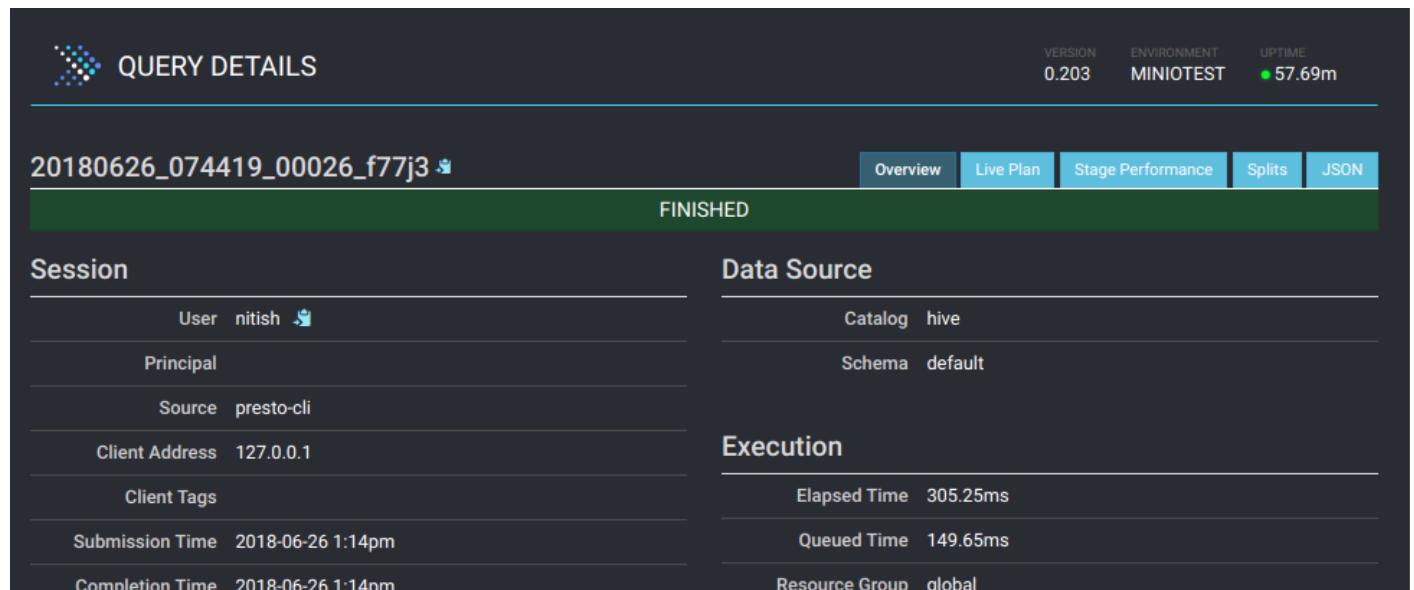 Interactive SQL query with Presto on MinIO Cloud Storage